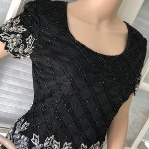 Papell Boutique vintage silk blk beaded Evenng top